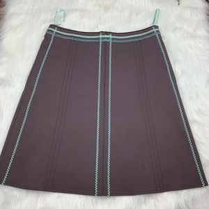 ELEVENSES Anthro A line skirt brown w/ Aqua 12